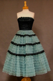 Unusual Turquoise Tulle 1950's Strapless Prom Dress w/ Black Lace