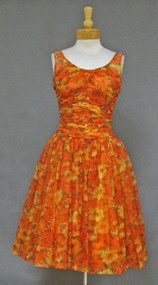 Claudia Young Summer Floral Chiffon 1960's Cocktail Dress