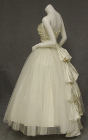 Exquisite Candlelight Satin & Tulle 1950's Wedding Gown