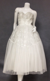 Ethereal Pleated Tulle 1950's Prom Dress w/ SIlver Embroidery