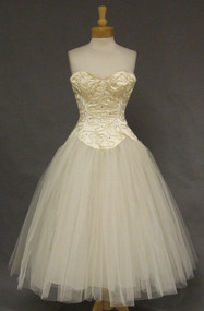 SUPERB Sequined Strapless Cream Satin & Tulle 1950's Wedding Dress