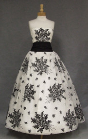 Extraordinary Emma Domb Flocked Chiffon 1950's Ball Gown