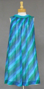 Ultra Chic Green & Blue Striped 1960's Mod Cocktail Dress