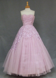 Beautiful Lavender Lace & Tulle 1950's Strapless Prom Gown