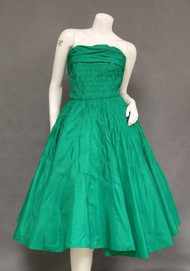 Striking Diamond Smocked Green Taffeta 1950's Prom Dress w/ Rhinestones