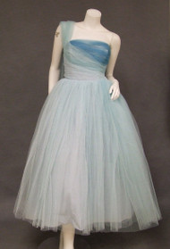 Tri Toned Blue Tulle 1950's Prom Dress w/ Shoulder Sash