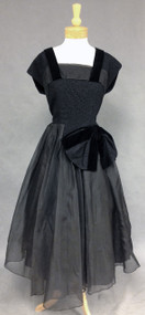 Black Organdy, Lace & Velveteen 1950's Cocktail Dress in a Larger Size