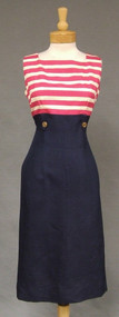 Cream, Fuchsia & Navy Nautical Style Vintage Dress with Matching Topper