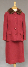 Brick Red Wool Boucle 1960's Suit with Mink Collar