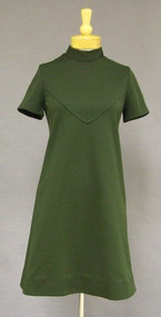 Avocado Knit 1960s Dress with High Neck