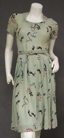 AWESOME Masquerade Novelty Print 1940's Day Dress