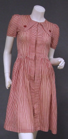 FABULOUS 1940's Red & White Striped Dress.
