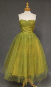 Celadon Tulle Strapless 1950s Prom Dress with Metallic Stripes