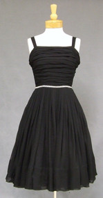 Miss Elliette Gathered Black Chiffon Vintage Cocktail Dress with Rhinestone Trim