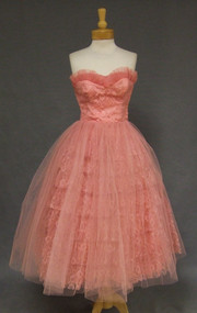 Salmon Lace and Tulle Strapless Vintage Prom Dress