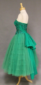 Emerald Green Sequined Tulle 1950's Cocktail Gem