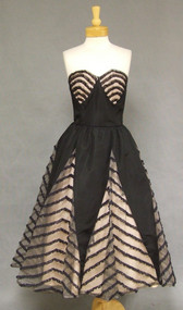 STRIKING 1950's Black Taffeta Cocktail Dress w/ Illusion Inserts