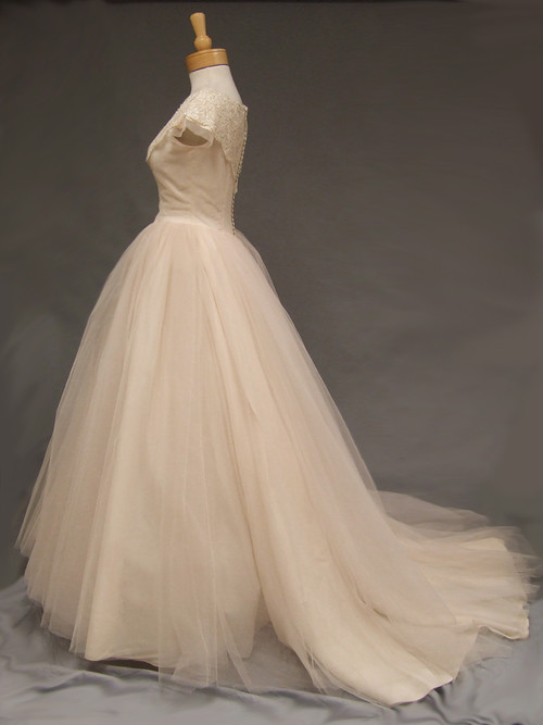 Dreamy blush tulle vintage wedding gown vintageous llc for Blush vintage wedding dress