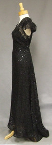Old Hollywood Sequined Lace Vintage Evening Gown w/ Train XL