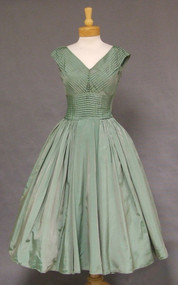 Fred Perlberg Iridescent Pleated Taffeta 1950's Cocktail Dress