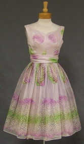 Gorgeous Printed Lavender Nylon Early 1960's Party Dress