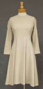 Pauline Trigere Bone Wool 1970's Dress