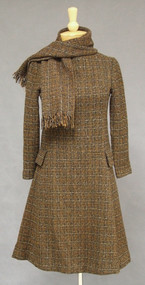 Brown & Black Wool Tweed 1960's Dress w/ Scarf