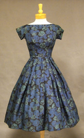 Bergdorf Goodman Black & Blue Floral Silk Dress from 1958