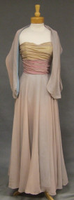 Sweeping Multi Colored Chiffon 1940's Evening Gown w/ Shawl