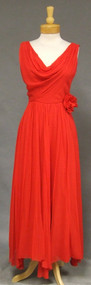 Miss Elliette Fiery Red Chiffon Vintage Evening Dress w/ Handkerchief Hem