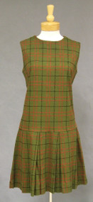 Plaid Wool 1960's Dress w/ Dropped Waist