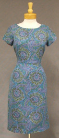 Gloria Swanson Paisley Wool 1960's Day Dress