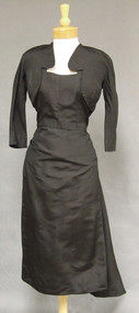 Black Silk 1950's Cocktail Dress w/ Attached Bolero & Train