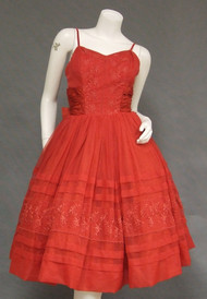 Cherry Red Chiffon Early 1960's Party Dress