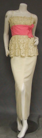 Edward Abbott Cream Metallic Lace & Crepe Bomshell Gown w/ Pink Satin