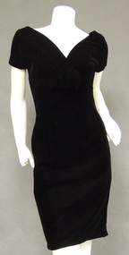 Suzy Perette Bombshell Black Velvet Vintage Cocktail Dress