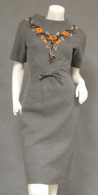 AWESOME Grey Knit 1960's Dress w/ Florals