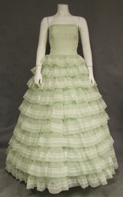 Charming Green Nylon & Lace Strapless Vintage Prom Gown