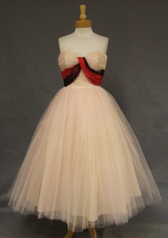 SUPERB Will Steinman Pink Tulle 1950's Dress w/ Burgundy & Red Taffeta