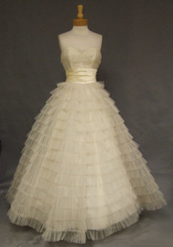 1950's Ivory Tulle Strapless Ball Gown w/ Satin Waist