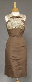 Elegant Oleg Cassini Mocha Silk & Lace 1960's Cocktail Dress