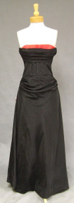 Black Taffeta 1950's Ball Gown w/ Pink & Red Trim & Train