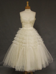 Ruflled Tulle 1950s Strapless Dress W Lace Bodice
