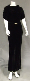Beautiful Black Velvet 1930's Bias Evening Gown w/ Rhinestone Buttons & Buckle