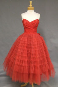 Striking Red Taffeta & Tulle Strapless 1950's Prom Dress w/ Rhinestones
