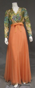 Sarmi Metallic Mylar & Tangerine Chiffon Evening Gown