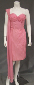 Lilli Diamond Pink Chiffon Bombshell Vintage Cocktail Dress