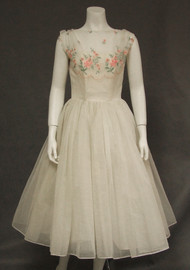 I Magnin Ivory Nylon 1950's Cocktail Dress w/ Floral Embroidery