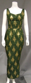 Green & Gold Bombshell Wiggle Vintage Evening Dress