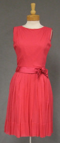 Hot Pink Chiffon & Satin 1960's Cocktail Dress